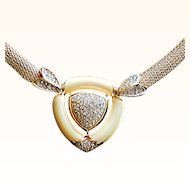 Grosse Couture Gold-Tone  Mesh Necklace Ivory Molded Ivory Lucite Paved Crystals 18 KT GP