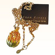 Joan Rivers_ Lilly Of The Valley Egg Guilloche Pendant/Chain Necklace Faux Seed Pearls 18 KT GP