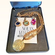 Nolan Miller Spectacular Pendants/Necklace Wardrobe Designer Chains Swarovski Crystals 14 KT GP
