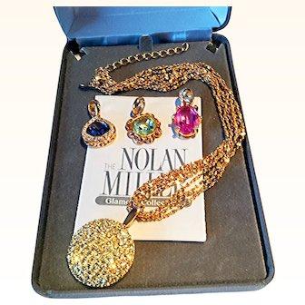 Nolan Miller Spectacular Pendants/Necklace Wardrobe Designer Chains Swarovski Crystals 14 KT GP