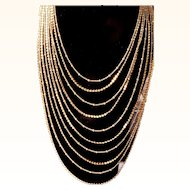 Joan Rivers Retired Multi Strand Necklace Cascading Waterfall Graduated Designer Chains 18 KT GP