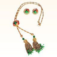 Hobe- 1950's-1960's Golden Mesh Tassels Lariat Style Necklace/Clip Earrings Set  Crystals  Beads Epoxy Enamel