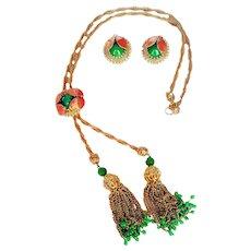 Hobe- 1950's-1960's Golden Mesh Tassels Lariat Style Necklace/Clip Earrings Set  Crystals  Beads Epoxy Enamel