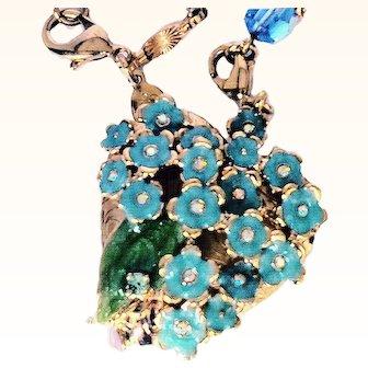 Kirk's Folly Retired Floral Locket Necklace Forget Me Knot Enamel Swarovski Crystals 18 KT GP Designer Sautoir Chain