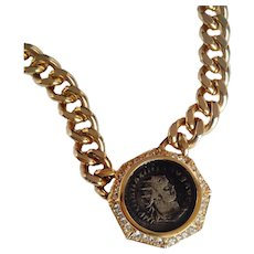 Ciner Exquisite Replica Ancient Roman Coin Necklace  Cuban Link Chain 18 KT GP Swarovski Crystals