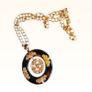 Crown Trifari Lanvin Era Statement Medallion Pendant/Necklace Lucite Tortoise Shell  18 KT GP