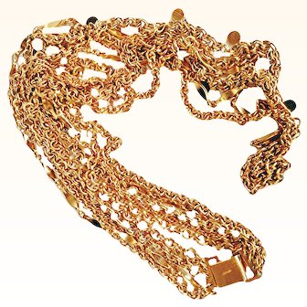 Napier Statement Five Strand Designer Chains Necklace Signed Graduated Length 18 KT GP