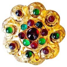 Authentic Mid-Century Mogul (Mughal)  Brooch 24 KT Gold Leaf , Genuine  Emerald And Ruby Gemstones