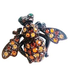 Joan Rivers- Signed Bee Pin Shades of Topaz  - From the Bee Pins Collection