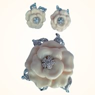 Nolan Miller Camellia Flower Brooch/ Earrings Set Ivory Resin Rhodium Plated Swarovski Crystals Lara