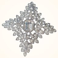 Kenneth Jay Lane Couture Jackie O.  Cruciform Crystal Fantasy Brooch Swarovski Crystals Rhodium Plated Signed