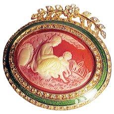 Joan Rivers_ Mother's Love Oval Cameo Brooch Epoxy Resin Swarovski Crystals 18 Kt GP