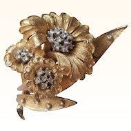 Ciner-   1980's Three Flowers Figural Brooch Florentine Goldwork 18 KT GP Swarovski Crystals