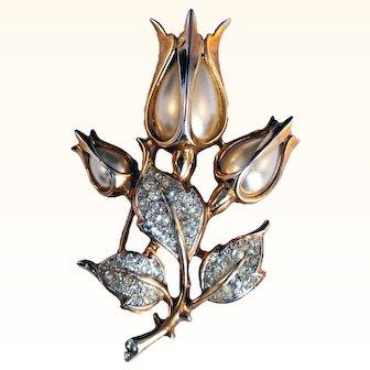 Crown Trifari- Rare Alfred Philippe Tulip Flowers Brooch Faux Pearls Swarovski Crystals 18 KT GP