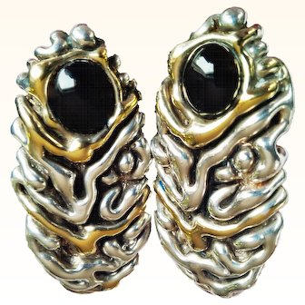 Wearable Art Designer Signed Handcrafted  Earrings 925 Sterling Silver Onyx Gem 14KT Vermeil Clip On