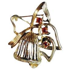 Dodds  Christmas Bell Brooch Elegant Design Faux Pearl  Red Crystals  1970's Vintage Gold Platedl Signed