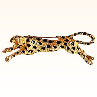 Ciner  Wearable Art Leaping Leopard Brooch Black Enameled Spots Textured 18 KT GP Metal