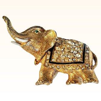 Ciner Wearable Art  Elephant Figural Brooch Swarovski Crystals Enamel 18 KT GP