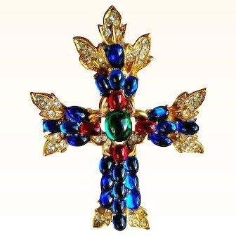 Trifari  Limited Edition Cross Brooch/Pendant Bejeweled Swarovski Crystals/Cabochons 18 KT GP