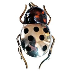 Valeri 888  Wearable Art Lady Bug Handmade Brooch/Pendant 925 Sterling Silver Baltic Amber