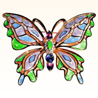 Bob Mackie  Spectacular Butterfly Brooch  Multi-Color Enamel Swarovski Crystals 18 KT GP