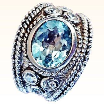 Judith Ripka  Signet Ring  925 Sterling  Silver Genuine Blue Swiss Topaz Size 6