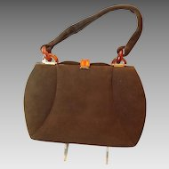 Vintage 40's Brown suede handbag with apple juice lucite closure