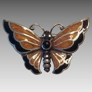 Sterling enamel butterfly brooch