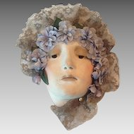 Nouveau plaster lady head wall hanging