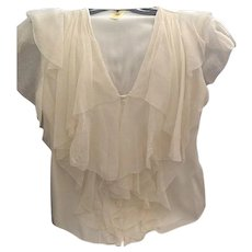 Catherine Melandrino chiffon and silk blouse - Red Tag Sale Item