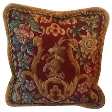 Large needlepoint and pettipoint pillow