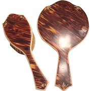 Celluloid Mirror and Brush set