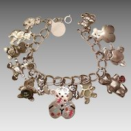 Sterling Teddy Bear charm bracelet