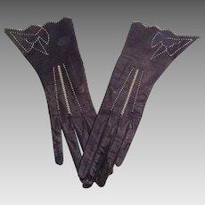 Vintage navy kid gloves