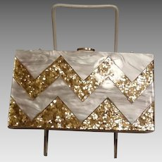 Plastic and gold confetti purse