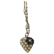 Vintage 14K Cultered Pearl and Saphire heart necklace