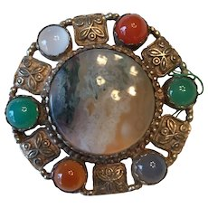 Vintage Sterling and Agate brooch