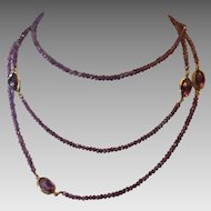 Long Amethyst bead necklace