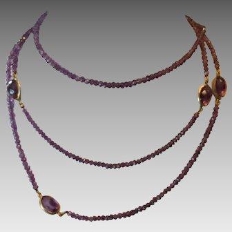 Long Amethyst bead necklace