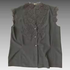 French sleeveless blouse with lace trim
