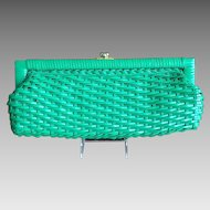 Emerald Green Straw clutch  1950's