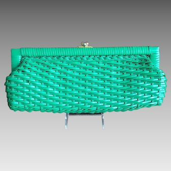 Emerald Green Straw clutch  1950's