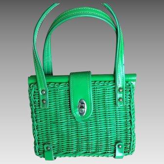 Vintage Bright Green Straw Bag
