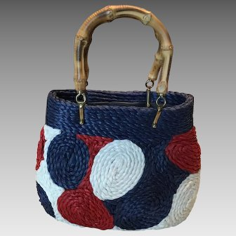 Vintage Red, White, and Blue Straw bag