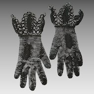 Antique Crocheted Black Gloves