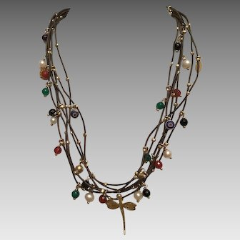Wonderful Sterling, Pearl, and Stone Necklace on Cord