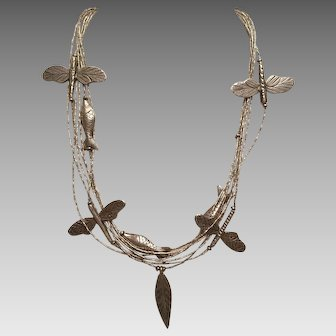 Sterling Dragonfly and Fish Necklace