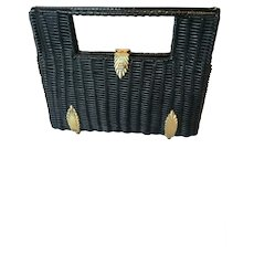 Vintage Black Straw Handbag