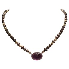 Beautiful 14K and Baroque Pearl Amethyst Necklace