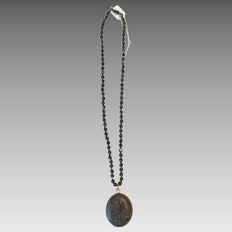 Antique Gutta Percha Locket Necklace